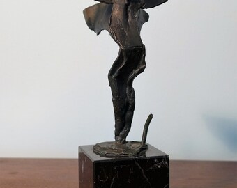 Brant Kingman Brutalist Icarus Bronze Sculpture on Marble Base Man with Wings Abstract Fallen Angel Metal Figure Signed 1997