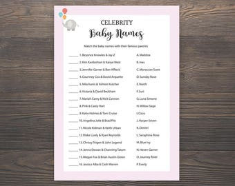 Celebrity Baby Names, Baby Shower Games, Pink Baby Shower, Baby Girl Shower, Printable Baby Shower, Celebrity Baby Match Game, Pink, S003