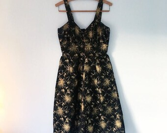 1950s 50s vintage party dress black gold floral brocade full skirt uk 8