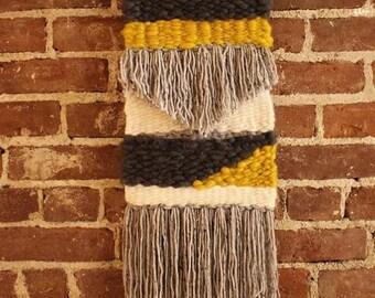 HANDWOVEN wall tapestry   Mustard & Gray   Fringe details   Driftwood