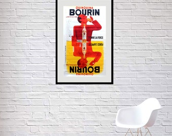 Reprint of a 1960s French Liquor Poster - Bourin