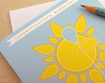 Congratulations Card - Congratulations Sunshine  by Oh Geez Design