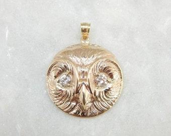 Art Nouveau Owl Pendant: Antique Rose Gold And Diamond Eyed Owl Pendant RNLP9T-D
