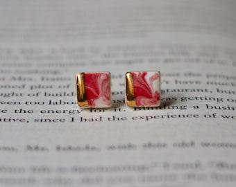 Red stud earrings / Sterling silver studs / Sterling silver earrings / Ceramic earrings / Ceramic studs / Porcelain earrings