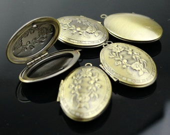 5 pcs Locket Antique Brass BIG Flower Oval Locket Charm Pendant photo locket - 28x42mm 10mm thickness
