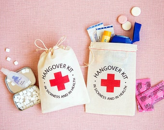Bachelorette Party Favor Bags- Hangover Kit Bags - Bachelorette Favor Bags - Wedding Favor Bag - In Sickness and In Health Favors - Hangover