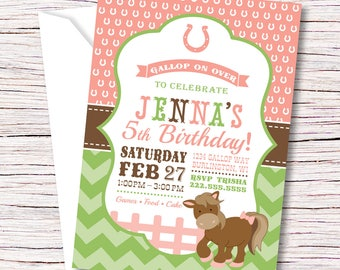 Pony Birthday Party Invitation, Pony Invitation, Horse Invitation, Pony Party, Girl Birthday Invitation, Horse Birthday, Horse Party