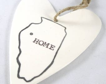 Ready to Ship Today State Valentine Ornament, Stamped Heart Ornament, Illinois state Ornament, Family Gift, Gift from the whole family