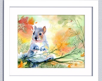 Autumn Fall Squirrel Original 10 in x 8 in Watercolor Painting - FREE Shipping