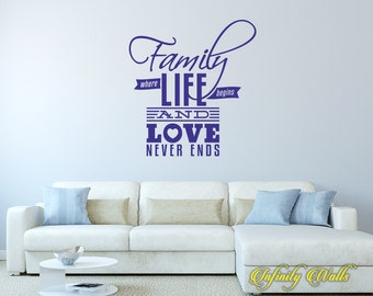Family Where Life Begins and Love Never Ends - Wall decal quote - Home Decor - Inspirational Quote Decal - Motivational Decals - Sweet Home