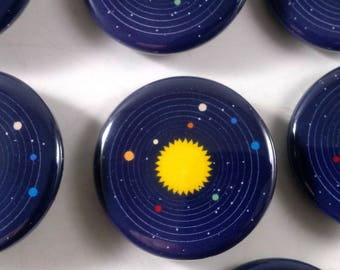 Solar System Button (1.25 in) / Pin back Button / Space / Small Gift