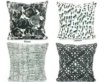 Decorative Pillow Covers Throw Pillows Cushions Black Tan Gray White Cotton Slub Canvas Linen Look Couch Bed Pillows  ALL SIZES Mix & Match