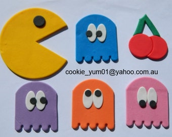12 edible large  PACMAN GAME cake decorations cupcake wedding topper decoration anniversary birthday engagement playstation xbox retro