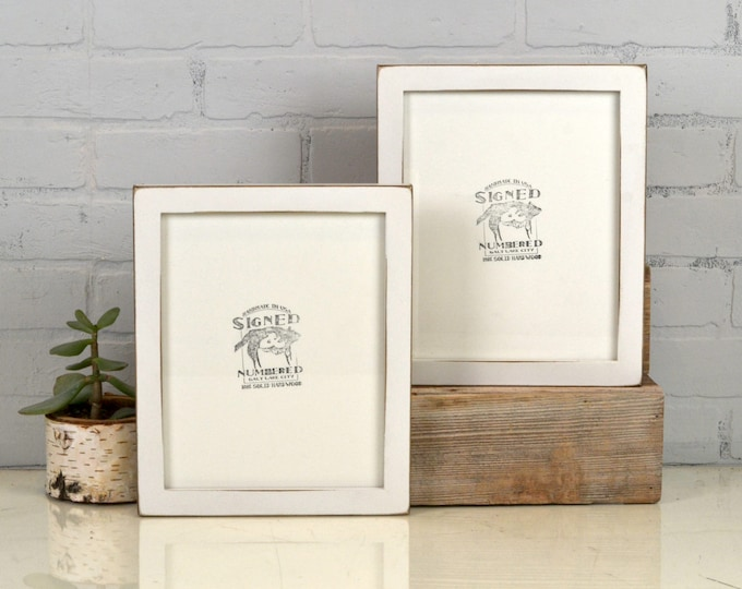 8x10 Picture Frame in 1x1 Flat Style with Vintage White Finish - IN STOCK - Same Day Shipping - Rustic Solid Wood Frame 8 x 10 White