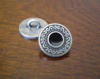 """3 - Black Medallion Metal Buttons with Shank 5/8"""" (15mm)"""
