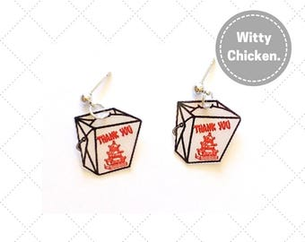 Takeout Boxes, Food Jewelry, Food Earrings, Paper Earring, Paper Jewelry, Laminate Earrings, Fun Earrings,