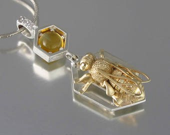 HONEY BEE silver and 14k gold pendant with citrine and white sapphires - Ready to ship