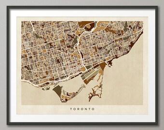 Toronto City Map, Ontario Canada, Art Print (1345)
