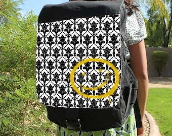 "SHERLOCK  ""Bored! Smiley"" Canvas Backpack Bag"