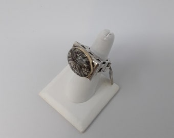 Dian Malouf limited edition fossilized sand dollar ring