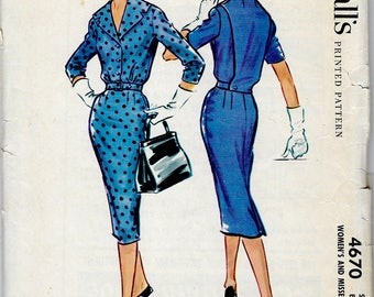 Shirt Waist Wiggle Dress with Back Panel Detail , 1950's McCall's Pattern No. 4670 - Bust 36