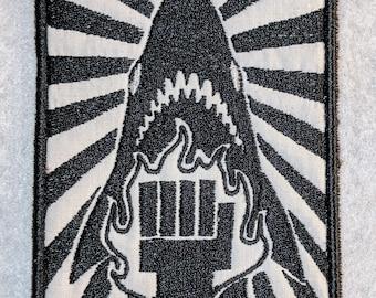 SCP Shark Punching Center panel patch/fabric art