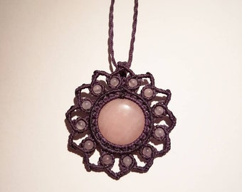 Macrame Jewelry, Rose Quartz Macrame Necklace, Rose Quartz Macrame Jewelry, Rose Quartz Jewelry, Purple Macrame Necklace