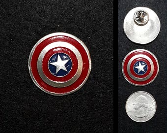 Hand Cast Captain America Shield 1.1 in. Lapel Pin