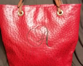 Monogrammed Red Tote Bag. Faux Ostrich