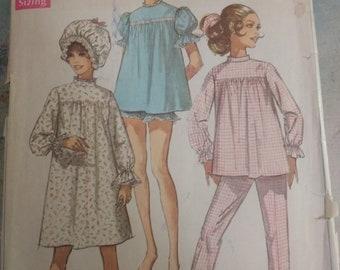 Simplicity vintage pajamas pattern 1968
