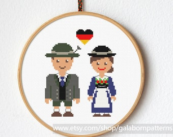 Hi I'm German cross stitch pattern, Bavarian, Modern cross stitch, Couple, Wedding, Cross stitch portrait