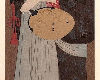 1906, Japanese antique woodblock print, Hosoda Eishi, from Ukiyoe-ha-gashu.