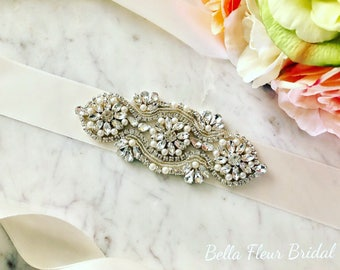 Wedding Dress Sash, Rhinestone Bridal Sash, Pearl Sash, Crystal Bridal Belt, Gown Embellishment, Weddings, Wedding Gift, Ivory Dress Sash