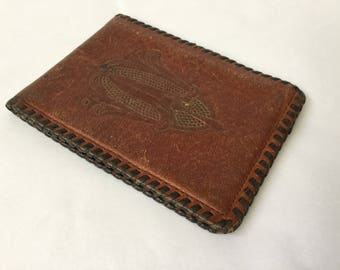 Vintage 30s Brown Embossed Whip Stitch Leather Wallet, Edwardian Art Nouveau Style, Antique 1930s Slim Billfold Wallet With ID Holder