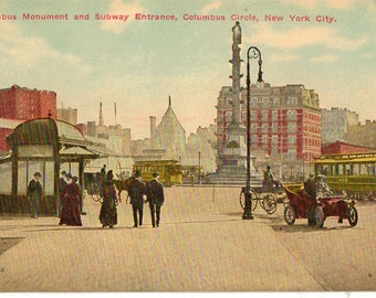Vintage Postcard, New York City, Columbus Circle and Subway Entrance, ca 1910
