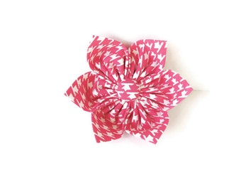 Pink houndstooth dog bow, pink and white flower, pink houndstooth pet bow, pink collar flower bow tie, houndstooth bowtie