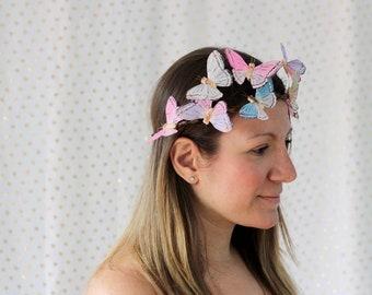 Pastel Butterfly Crown - bridal shower, baby shower, fairy, bride, wedding