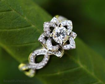 LOVE IN BLOOM - Flower  Lotus Rose Diamond Engagement or Right Hand Ring - 14k white - fL03