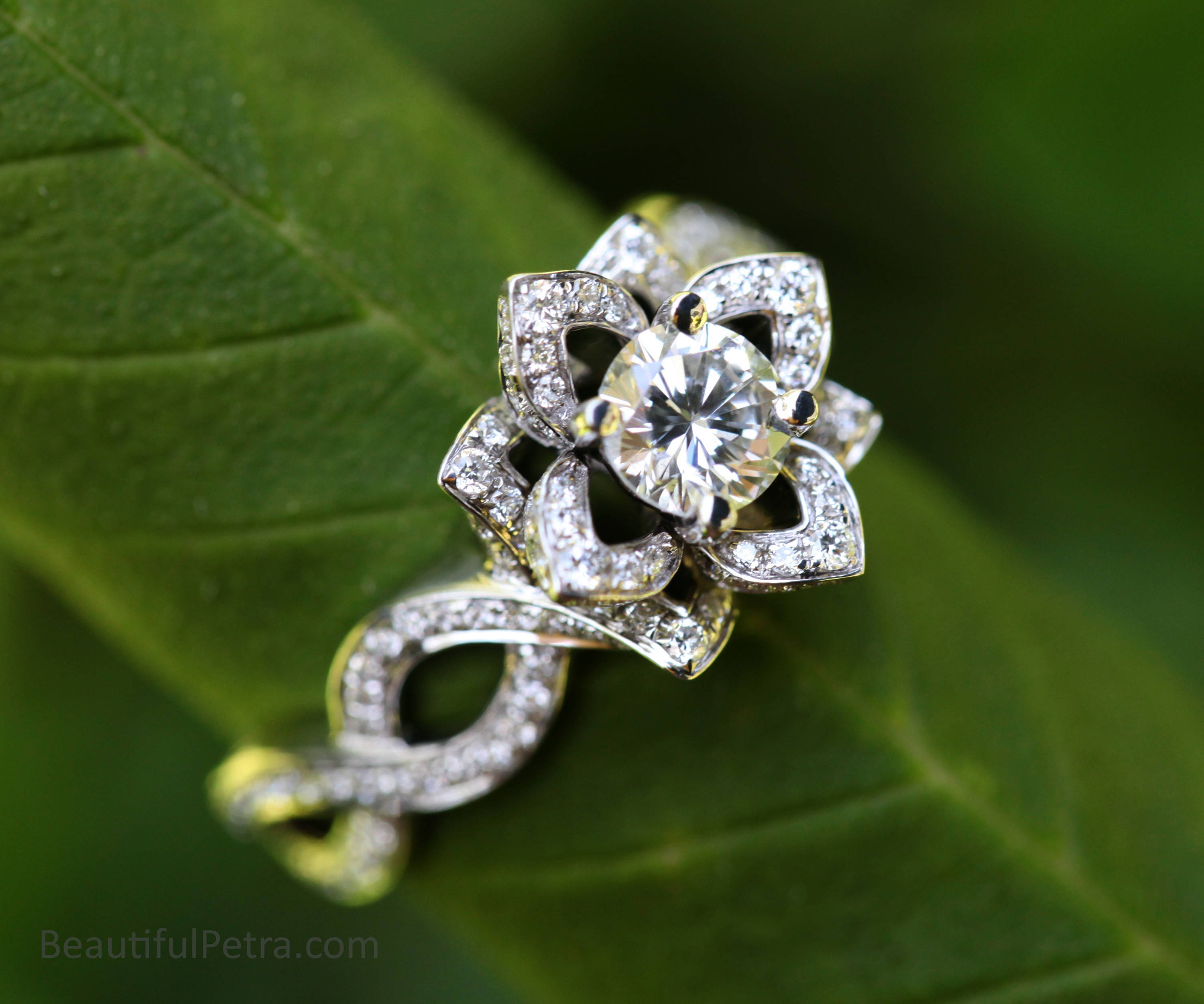 Love in bloom flower lotus rose diamond engagement or right zoom izmirmasajfo Choice Image