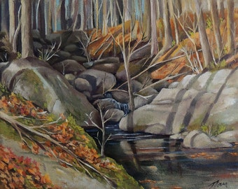 Woodland Stream Landscape Oil Painting