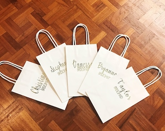 Personalized Gift Bags | Name + Title | Bridesmaids Gifts | Bridal Party Bags | Custom Gift Bags | Wedding Favors | Kraft Bags | 8.5 x 5.25