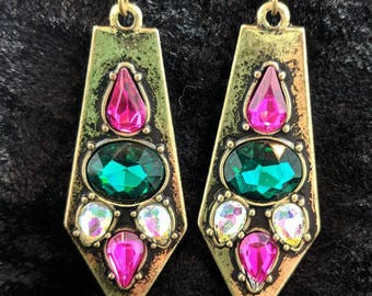 Pink, green, and white faux gemstone earrings #70