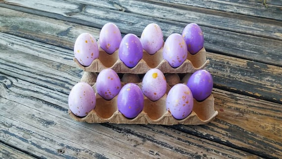 Decorative Easter Eggs, Artifical Easter Eggs, Gold Speckled Eggs, Purple Ombre Eggs
