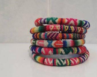 Wholesale Lot 3 Peruvian vintage fabric textile Bracelets Handmade Peru
