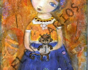 Frida with Monkey - ACEO Giclee print mounted on Wood (2.5 x 3.5 inches) Folk Art  by FLOR LARIOS