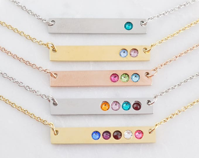 Birthstone Bar Necklace - Birthstone Necklace - Birthstone Jewelry - Personalized Birthstone Necklace - Gift for Her - Mothers Necklace