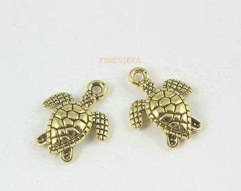 30Pcs Antique Gold sea turtle Charm sea turtle Pendant 16x13mm (PND1307)
