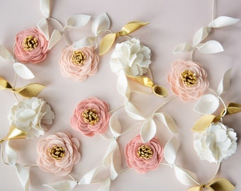 Felt Flower Garland in Blush, light salmon, Ivory and Gold || Pick your own colors!
