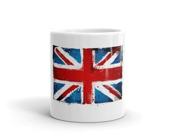 Distressed England Flag Mug. Grunge Union Jack ceramic Cup for British, English, UK, United Kingdom, Great Britain & London.