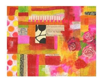 Un collage de jardin - 8 x 10 IMPRESSION jet d'ENCRE, techniques mixtes, Susan Black